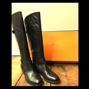 Arturo Chiang Betha Black Leather Knee High Boot